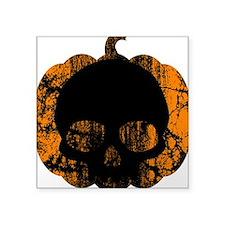 """worn-pumpkin-skull.png Square Sticker 3"""" x 3"""""""