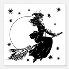 """old-fashioned-witch_wh.png Square Car Magnet 3"""" x"""