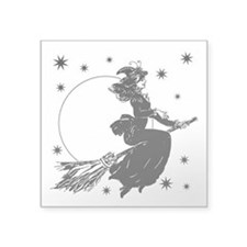 "old-fashioned-witch_wh.png Square Sticker 3"" x 3"""
