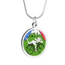 Bicycle Day Silver Round Necklace