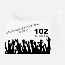 102nd Birthday party invitation Greeting Cards (Pk