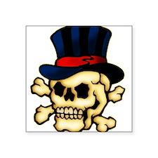 """tat-skull-hat.png Square Sticker 3"""" x 3"""""""