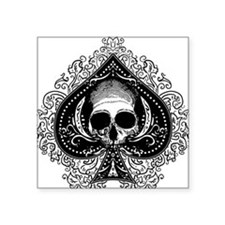 """ace-spades-skull_wh.png Square Sticker 3"""" x 3"""""""