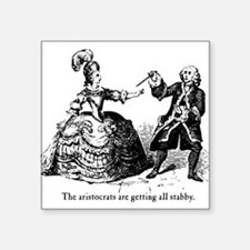 "aristocrats-stabby_wh.png Square Sticker 3"" x 3"""