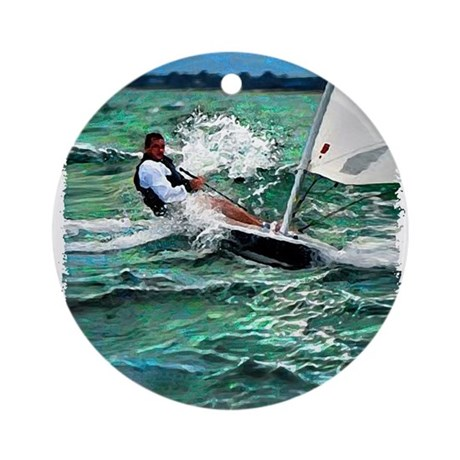 Laser Sailboat Ornament (Round)