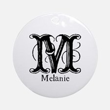 Melanie: Fancy Monogram Ornament (Round)