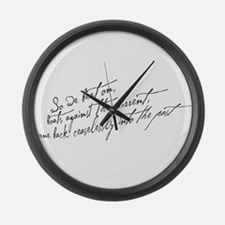 So We Beat On Black Large Wall Clock