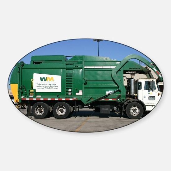 garbage truck love Sticker (Oval)