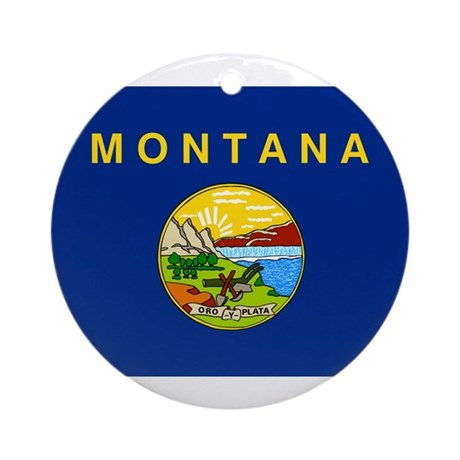 Montana Flag Ornament (Round)
