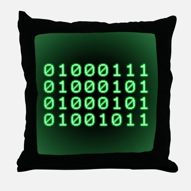 Binary code for GEEK Throw Pillow
