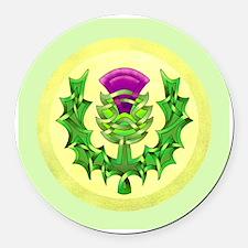 Heraldic Thistle Round Car Magnet