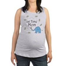 1st time mom blue elephant.png Maternity Tank Top