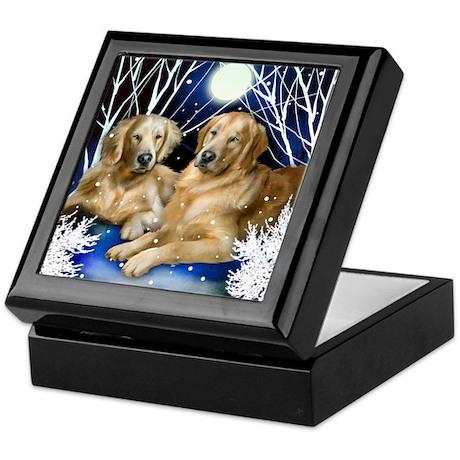 GOLDEN RETRIEVER DOGS WINTER TREES Keepsake Box