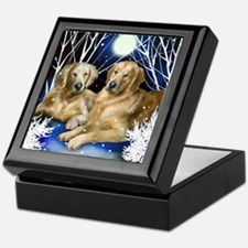 GOLDEN RETRIEVER DOGS WINTER TREES Keepsake Box