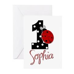 SOPHIA Ladybug 1st Birthday 1 Greeting Cards (Pk o