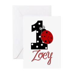 ZOEY Ladybug 1st Birthday 1 Greeting Card