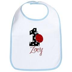 ZOEY Ladybug 1st Birthday 1 Bib