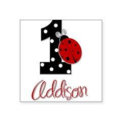 ADDISON Ladybug 1st Birthday 1 Sticker