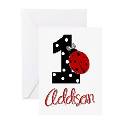 ADDISON Ladybug 1st Birthday 1 Greeting Card