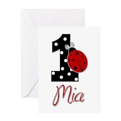 MIA Ladybug 1st Birthday 1 Greeting Card