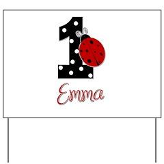 EMMA Ladybug 1st Birthday 1 Yard Sign