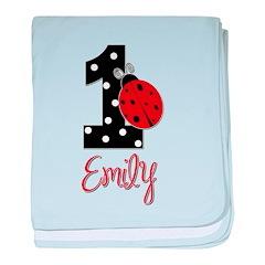EMILY Ladybug 1st Birthday 1 baby blanket