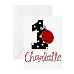 CHARLOTTE Ladybug 1st Birthday 1 Greeting Cards (P