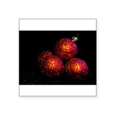 Festive Red Baubles On Dark Background Square Stic