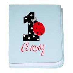 AVERY Ladybug 1st Birthday 1 baby blanket