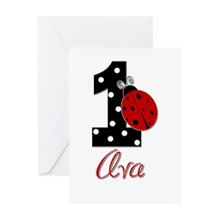 AVA Ladybug 1st Birthday 1 Greeting Card