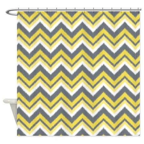 Ikat Chevron Pattern in Yellow and Grey Shower Cur