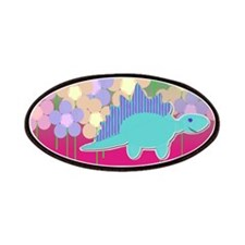 Blue Stegosaurus Flower Dinosaur Patches