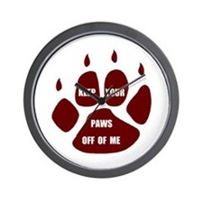PAWS OFF ME Wall Clock