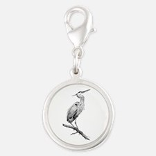 Great Blue Heron Silver Round Charm
