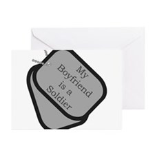 My Boyfriend is a Soldier dog tag Greeting Cards