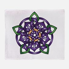 Purple Celtic Rose Throw Blanket