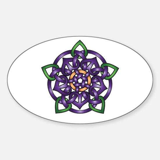 Purple Celtic Rose Sticker (Oval)