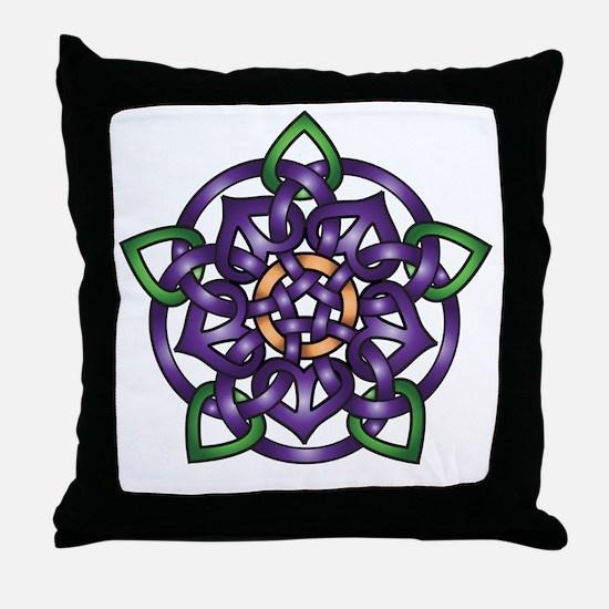 Purple Celtic Rose Throw Pillow