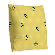 Busy Bees (p) Burlap Throw Pillow