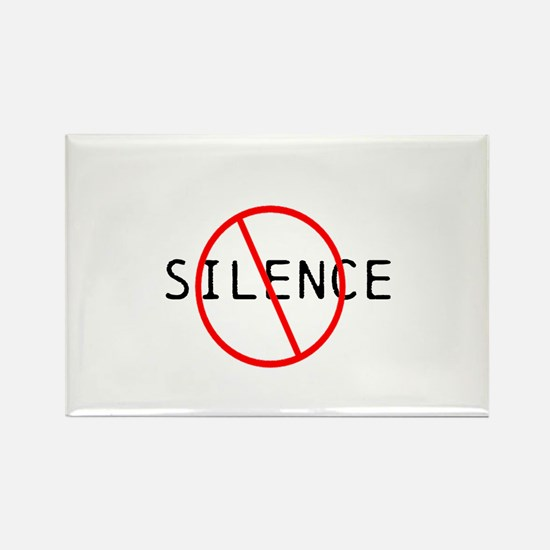 No Silence Rectangle Magnet