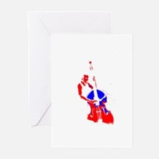 bass player upright blue red Greeting Cards (Pk of