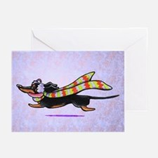 Dachshund Winter Scarf Lilac Greeting Cards (Pk of
