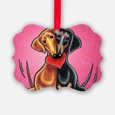 Dachshunds in Love Pink Ornament