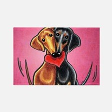 Dachshunds in Love Pink Rectangle Magnet