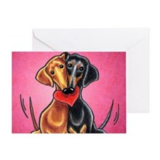 Dachshunds in Love Pink Greeting Card