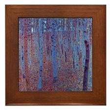 Beech Forest by Gustav Klimt Framed Tile