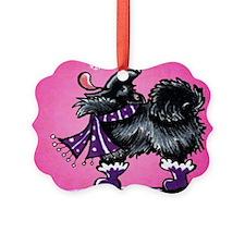 Black Pomeranian Snow Pink Ornament
