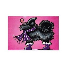 Black Pomeranian Snow Pink Rectangle Magnet