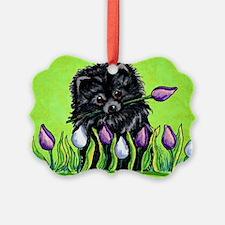 Black Pom Tulips Green Ornament