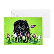 Black Pom Tulips Green Greeting Card